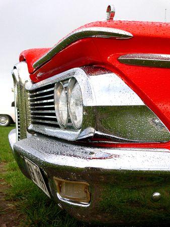 Closeup of headlights on a classic american car