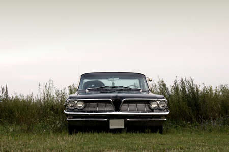 parking car: A black american 1960s car parked in a field               Stock Photo