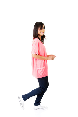 isoalated: Happy student girl running, isoalated on white background
