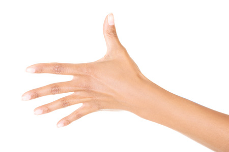 Woman hand (palm) isolated on white background photo