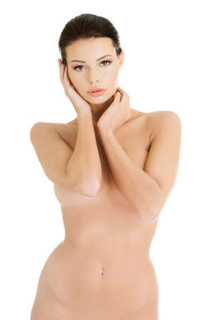 seins nus: Belle femme ajustement topless, isol� sur blanc