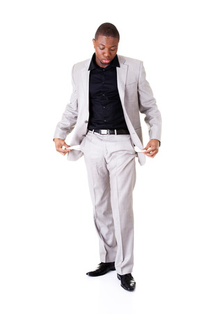 Male businessman showing open pockets. Isolated on white.  photo