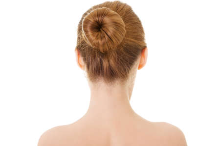 Naked woman's back- head and shoulders. Isolated on white.  photo