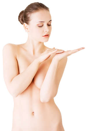 girl boobs: Attractive woman with her hand covering breasts. Touching hands.Front view. Isolated on white.