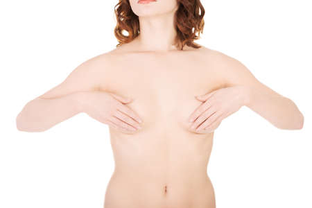 Attractive sexy naked female body. Front view. Isolated on white.  photo