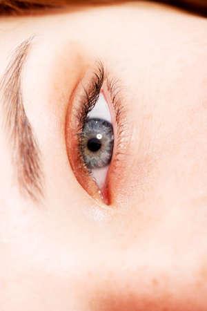 Close up of females eye.
