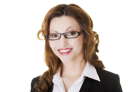 Portrait of attractive business woman in eye glasses  Isolated on white   photo