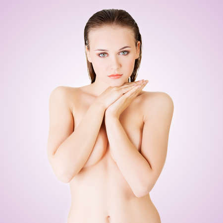 topless model: Beautiful fit topless woman Stock Photo