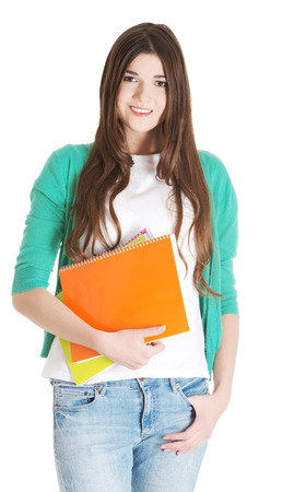 fresh graduate: Young beautiful student with files, workbook. Isolated on white. Stock Photo