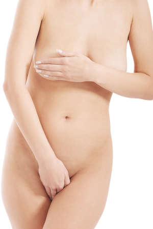 Beautiful woman's naked body. Fresh, clean skin. Over white background. photo