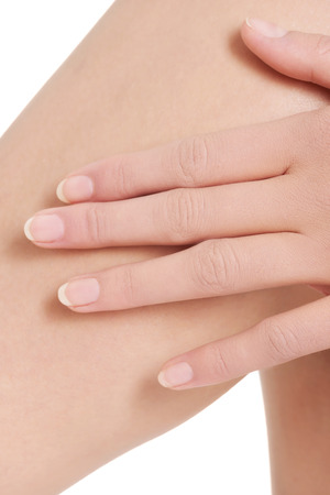 Close up on female's knee. Spa concept. photo