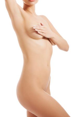 corps femme nue: Le corps de belle femme nue. Isol� sur blanc.