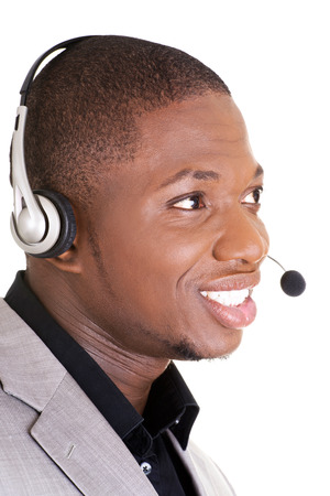 Support phone operator in headset isoalted on white. photo