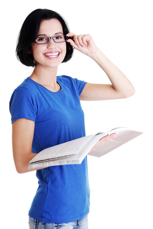 fresh graduate: Happy student woman with notebooks, isoalted on white background