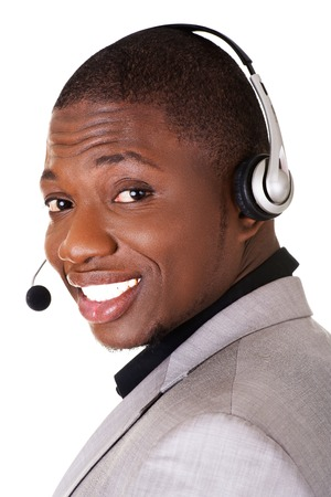 Support phone operator ( call center ) in headset photo