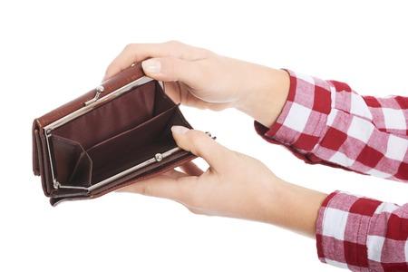 empty wallet: Woman showing her empty wallet