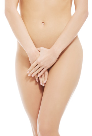 Beautiful womans naked body. Fresh, clean skin. Over white background. Stock Photo