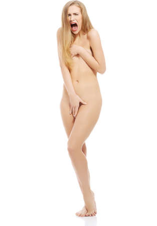 nude woman standing: Scared, screaming naked beautiful woman standing. Isolated on white.