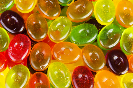 jellybean: Close up on colorful boiled sweets. Up front view.