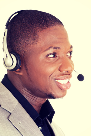 Support phone operator in headset. photo