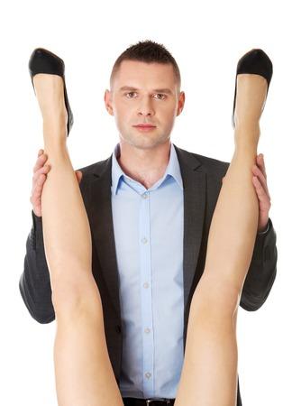seduce: Seductive woman and man - office romance concept.