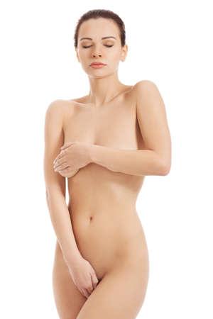 mujer desnuda sentada: Belleza joven encaja mujeres desnudas. Foto de archivo