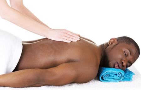 desnudo masculino: El hombre acostado en una mesa de masaje en el spa