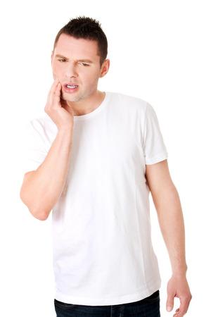 dent douleur: Homme souffrant terribles maux de dents