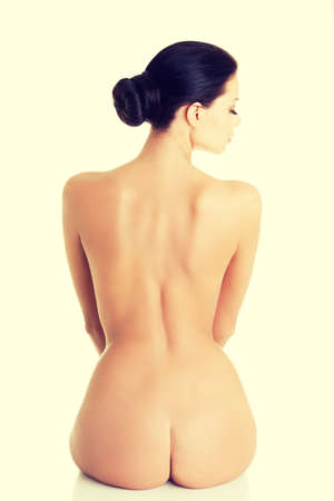Young beauty nude women back, isolated on white