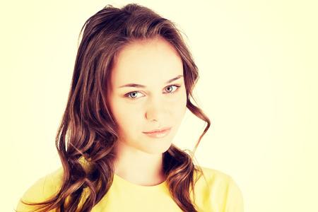 cute teen girl: Портрет молодой Кавказской подростков девушка. Изолированные на белом Фото со стока