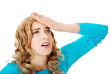 worried woman: Worried woman have big problem Stock Photo