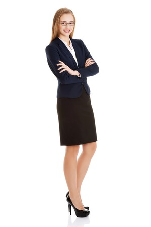 woman full body: Young blonde happy businesswoman standing Stock Photo