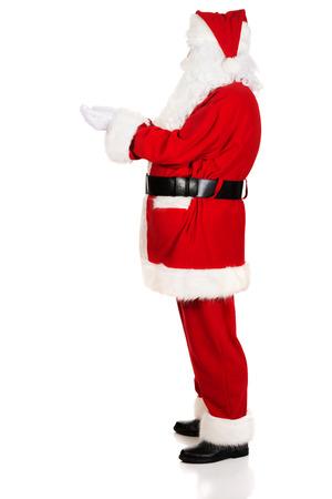 mains ouvertes: Vue de c�t� de Santa Claus avec les mains ouvertes.