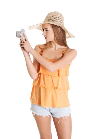 Woman making photos on vacations. photo