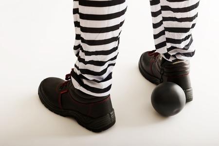prisoner ball: Man prisoner legs with chain ball. Stock Photo