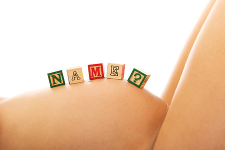 Pregnant female belly woman with name question photo