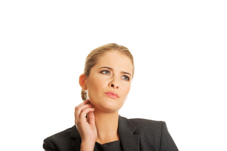 Businesswoman thinking about an idea photo
