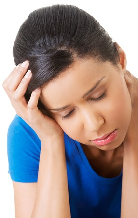 Woman suffering from stress and troubles. photo
