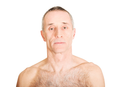 handsome old man: Serious shirtless old man looking at camera Stock Photo