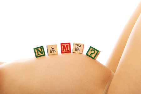 vientre femenino: Mujer embarazada con el vientre femenino nombre cuesti�n Foto de archivo