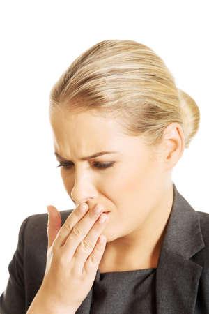 vomit: Sick woman about to vomit.