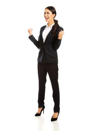 full length: Full length smiling cheerful businesswoman Stock Photo