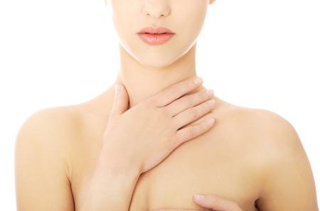 Junge schöne Frau mit einer Halsschmerzen Lizenzfreie Bilder