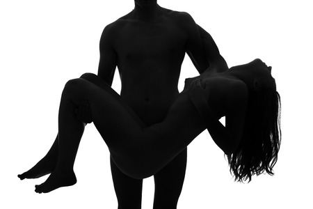 adult nude: Young adult nude couple. High contrast black and white