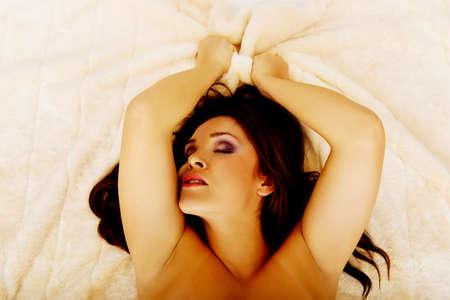 Junge Schönheit sinnliche Frau mit Orgasmus.