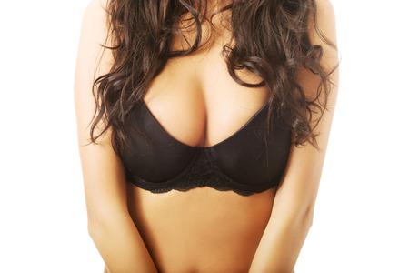 big boobs: Mujer pechos grandes en ropa interior negro.