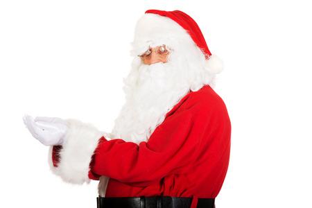 manos abiertas: Retrato de Santa Claus con las manos abiertas.
