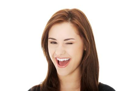 blink: Young brunette woman blink eye