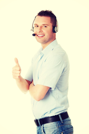 customer service representative: Customer service representative wearing a headset Stock Photo