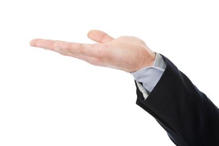 copyspace: Businessmans hand holding copyspace on palm.